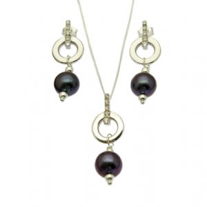 Black Pearl Pendant & Earring Set Sterling Silver Circle with CZ